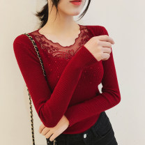 Wool knitwear Winter of 2018 Average size Long sleeves singleton  Socket other 31% (inclusive) - 50% (inclusive) Regular Thin money Sweet Self cultivation V-neck routine other Socket Mesh, stitching, diamond