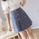 skirt Spring 2021 S,M,L Black, apricot, orange, peacock blue Short skirt commute High waist Pleated skirt Solid color Type A 18-24 years old 4665na Other / other Korean version