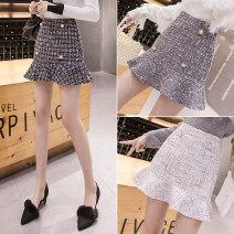 skirt Spring 2021 S,M,L,XL,2XL Black, white, grey Short skirt commute High waist A-line skirt lattice Type A 18-24 years old 10.4na other Korean version