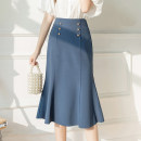 skirt Spring 2021 S,M,L,XL Blue, black Mid length dress commute High waist A-line skirt Solid color Type A 18-24 years old Y other other Button, stitching Korean version
