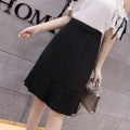 skirt Summer 2021 S,M,L,XL,2XL Black, apricot Mid length dress commute High waist Pleated skirt Solid color 25-29 years old More than 95% other Korean version