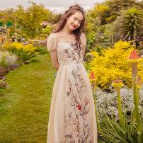 Dress Summer 2020 Khaki (in stock) S,M,L longuette singleton  commute square neck Decor puff sleeve camisole Uncle Peter Pan Retro 200107X443 More than 95%