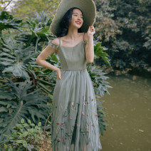 Dress Spring 2021 Green- S,M,L Mid length dress singleton  Sleeveless Sweet V-neck High waist Decor A-line skirt other Others 18-24 years old Type A Uncle Peter Pan 2021B013 30% and below other polyester fiber Countryside