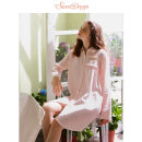 Nightdress Sweet dream Shrimp color Sweet Long sleeves Leisure home Short skirt autumn Solid color youth Small lapel cotton Embroidery More than 95% pure cotton