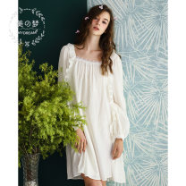 Nightdress Sweet dream white 155(S),160(M),165(L),170(XL) Sweet Long sleeves Leisure home Middle-skirt summer Solid color youth square neck cotton lace More than 95% Woven cotton fabric