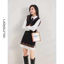 Dress Spring 2021 black S M L XL Middle-skirt Fake two pieces Long sleeves commute stand collar High waist other Socket other other Others 25-29 years old Type H Roland Korean version o20U61 More than 95% other Other 100% Pure e-commerce (online only)