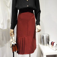 skirt Spring 2021 S,M,L,XL Black, red Mid length dress commute High waist Pleated skirt Solid color Type A 18-24 years old 91% (inclusive) - 95% (inclusive) zipper Korean version
