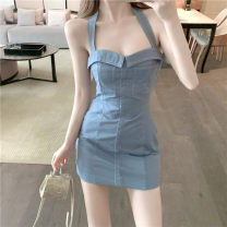 Dress Summer 2020 blue S, M Short skirt singleton  commute High waist Socket A-line skirt Hanging neck style 18-24 years old Retro