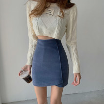 skirt Winter 2020 S. M, l, average size Blue, black, apricot white Short skirt commute High waist Irregular Solid color Type A 18-24 years old Wool Other / other Asymmetric, zipper Korean version
