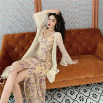 Dress Winter 2016 Purple Lace suspender skirt, lace long cardigan S. M, l, average size longuette Two piece set commute High waist Socket camisole 18-24 years old Other / other Korean version