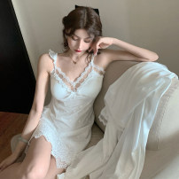 Pajamas / housewear set female Other / other Average size Pearl (suspender skirt), Pearl (Nightgown) other Long sleeves sexy pajamas autumn Thin money V-neck Solid color Socket youth 2 pieces 21% (inclusive) - 40% (inclusive) silk printing Middle-skirt