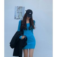 Dress Spring 2021 Khaki, blue, black Average size Short skirt singleton  Long sleeves commute Crew neck Solid color Socket other routine 18-24 years old Korean version 31% (inclusive) - 50% (inclusive)