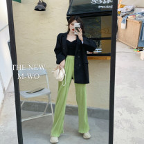 Casual pants Apricot, pink, fluorescent green, black Average size Autumn 2020 trousers Wide leg pants High waist commute thickening 18-24 years old Korean version