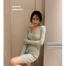 Dress Autumn 2020 Light green Average size Middle-skirt singleton  commute V-neck High waist 18-24 years old Korean version 30% and below other