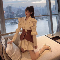 Dress Autumn 2020 Dress, waistband Average size Middle-skirt singleton  Long sleeves commute Polo collar High waist other Single row two buttons Ruffle Skirt routine 18-24 years old Type A Korean version 31% (inclusive) - 50% (inclusive) other other