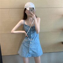 Dress Summer 2020 Blue, black S,M,L Short skirt singleton  Sleeveless commute V-neck High waist Solid color Single breasted camisole 18-24 years old Type H Korean version Denim cotton