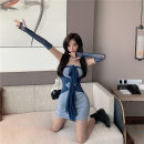 Dress Autumn 2020 blue Average size Short skirt singleton  Long sleeves commute square neck High waist Solid color Socket A-line skirt routine Hanging neck style 18-24 years old Type A Korean version Splicing 31% (inclusive) - 50% (inclusive)