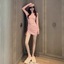 Dress Spring 2021 Pink, black Average size Middle-skirt singleton  Long sleeves commute Crew neck High waist Solid color Socket routine Others 18-24 years old Type A Korean version
