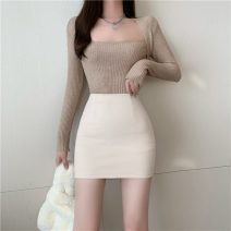 skirt Winter 2020 S,M,L Apricot, black Short skirt commute High waist Type A 18-24 years old Korean version