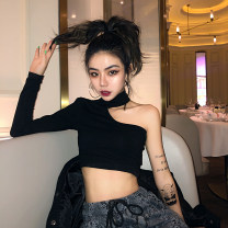 T-shirt Black, short sleeve S,M,L,XL Long sleeves Crew neck Self cultivation have cash less than that is registered in the accounts routine commute cotton 30% and below 18-24 years old Korean version originality Solid color Solid, off the shoulder