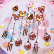 Spoon Set / fork chopsticks Chinese Mainland other Brown doughnut fork yellow Minnie doughnut fork Brown doughnut spoon yellow Minnie doughnut spoon red Minnie doughnut spoon red Minnie doughnut fork pink doughnut fork pink doughnut spoon