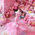 Ornaments Metal Cartoon Cartoon Pink gauze skirt jewelry rack