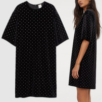 Dress Summer 2021 black XS,S,M,L,XL,2XL Mid length dress singleton  Short sleeve commute Crew neck High waist Solid color Socket Irregular skirt routine Others 25-29 years old Type H Other / other Simplicity More than 95% knitting polyester fiber