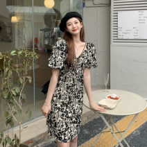 Lace / Chiffon Summer 2021 Picture color M,L,XL,2XL,3XL Short sleeve commute Socket singleton  Self cultivation Medium length V-neck routine 18-24 years old printing Korean version cotton