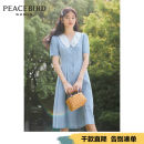 Dress Summer 2020 Denim blue (spot) denim blue (pre-sale 1) denim blue (pre-sale 2) S M L Middle-skirt singleton  elbow sleeve commute Doll Collar High waist 25-29 years old Peacebird lady A8FAA2604 More than 95% cotton Cotton 100% Same model in shopping mall (sold online and offline)