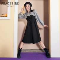 Dress Winter 2020 Black (pre-sale 1) black (pre-sale 2) S M L Mid length dress singleton  Long sleeves commute Crew neck High waist Socket Big swing other 25-29 years old Type A Peacebird Simplicity Color contrast A7FAA4231 More than 95% cotton Cotton 100%
