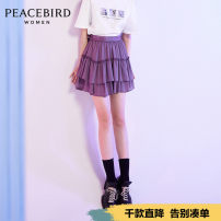 skirt Summer 2020 S M L Short skirt Retro High waist Cake skirt Solid color Type A 25-29 years old More than 95% Peacebird polyester fiber Polyester 98.7% polyurethane elastic fiber (spandex) 1.3% Same model in shopping mall (sold online and offline)