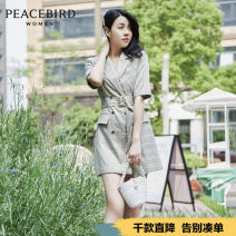 Dress Summer 2020 XS S M L Short skirt singleton  elbow sleeve commute tailored collar High waist lattice double-breasted A-line skirt routine 25-29 years old Peacebird Retro 81% (inclusive) - 90% (inclusive) polyester fiber Same model in shopping mall (sold online and offline)
