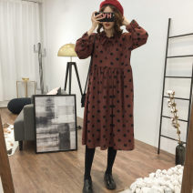 Lace / Chiffon Spring of 2019 Black, brick red L,XL,2XL,3XL,4XL Long sleeves commute Socket singleton  easy Medium length Crew neck Dot routine 25-29 years old Printing, stitching, bandage Korean version 81% (inclusive) - 90% (inclusive)