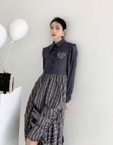 Dress Winter 2020 Smoky grey S, M Mid length dress singleton  Long sleeves commute High waist 18-24 years old Type A Korean version