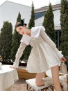 Dress Spring 2021 white S,M,L Miniskirt singleton  Long sleeves Sweet square neck High waist Solid color Socket routine Type A Other / other 31% (inclusive) - 50% (inclusive) other