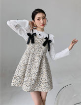 Dress Spring 2021 White [shirt], decor [dress] Average size Short skirt singleton  Sleeveless Sweet High waist Broken flowers other A-line skirt Others Type A bow 81% (inclusive) - 90% (inclusive) Countryside