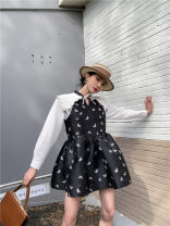 Dress Spring 2021 black S,M,L Short skirt Fake two pieces Long sleeves street Lotus leaf collar Animal design Princess Dress shirt sleeve Type A 71% (inclusive) - 80% (inclusive) polyester fiber Europe and America