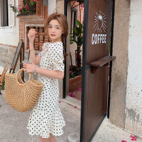 Dress Summer 2021 White, black M, L Middle-skirt singleton  Short sleeve commute square neck High waist Dot Socket One pace skirt puff sleeve Others 18-24 years old Type A Schizosin Korean version Pleating 51% (inclusive) - 70% (inclusive) other other