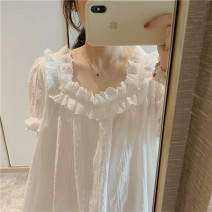 Nightdress Other / other White, blue, white [long sleeves], blue [long sleeves] One size, s (for 85-100 kg), m (for 100-120 kg), l (for 120-135 kg), XL (for 135-150 kg) Sweet Short sleeve Leisure home Middle-skirt summer Solid color youth Crew neck cotton lace pure cotton