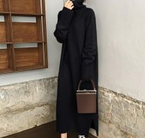 Women's large Winter 2020, spring 2021 Black, khaki, red Big L, big XL, big XXL, big XXXL, big XXXXL, big s, M Dress singleton  commute easy thick Socket Long sleeves Solid color Korean version High collar Polyester, cotton Three dimensional cutting routine 1Q510 TC 18-24 years old longuette
