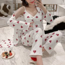 Pajamas / housewear set female M. L, XL, XXL, focus on collection, give small gifts cotton Long sleeves Sweet pajamas autumn Thin money V-neck heart-shaped trousers double-breasted youth 3 pieces rubber string printing
