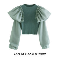 Wool knitwear Autumn 2020 Average size Green 9902 Long sleeves singleton  Socket cotton 51% (inclusive) - 70% (inclusive) have cash less than that is registered in the accounts routine street Lotus leaf sleeve Solid color Socket Europe and America
