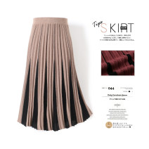 skirt Winter of 2019 Average size Camel dark red brown black dark grey Mid length dress commute High waist Pleated skirt Abstract pattern Type A 25-29 years old HYRFYQ11956673 31% (inclusive) - 50% (inclusive) knitting Hirong / Han Yirong Viscose Pleated thread splicing Korean version