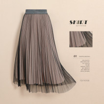 skirt Autumn 2020 Average size Navy light camel black army green longuette commute High waist Pleated skirt Solid color Type A 25-29 years old HYRFYB88688657 More than 95% Lace Hirong / Han Yirong polyester fiber Bright silk mesh splicing Korean version Polyester 100% Pure e-commerce (online only)