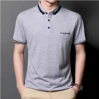 T-shirt Fashion City thin Other Short sleeve Lapel easy Other leisure summer middle age routine Business Casual other 2021 Solid color Button decoration cotton other Non iron treatment Fashion brand 90% (inclusive) - 95% (inclusive) Cool feeling 48/M,50/L,52/XL,54/2XL,56/3XL White, Navy, grey