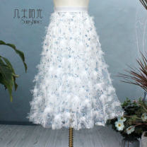 skirt Summer 2021 Average size white Mid length dress dream Fluffy skirt Type A Sparkling three dimensional Floral Dress Other / other Tassels, embroidery, three-dimensional decoration, sequins, gauze net, thread decoration