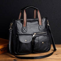 Bag The single shoulder bag PU Tote Bag Other / other brand new European and American fashion in leisure time soft zipper yes Solid color Double root One shoulder cross carry nothing Sewing Soft handle polyester fiber soft surface Three dimensional bag