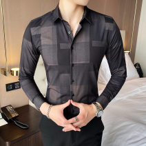 shirt Fashion City Others M,L,XL,2XL,3XL Blue, black routine square neck Long sleeves Self cultivation Other leisure autumn youth Exquisite Korean style 2020 lattice washing Easy to wear