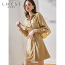 Dress Summer 2021 Coffee bar S M L longuette singleton  Long sleeves commute Polo collar High waist Solid color Single breasted A-line skirt routine 25-29 years old L. West / longvinstein Button LDYL11807395 More than 95% other Other 100% Pure e-commerce (online only)