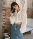 T-shirt White spot S,M,L Autumn 2020 Long sleeves stand collar easy have cash less than that is registered in the accounts routine street polyester fiber 96% and above Solid color zipper